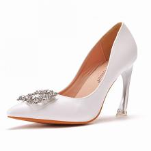 Elegancka Białe Rhinestone ...