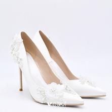 Elegancka Białe Satyna Buty...