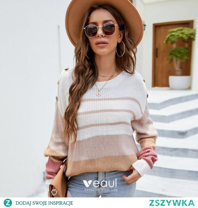 Moda Spadek Zima Zużycie ulicy Multi-Kolory Naszywka Luźny Swetry 2021 Wycięciem Długie Rękawy Kobiety Topy