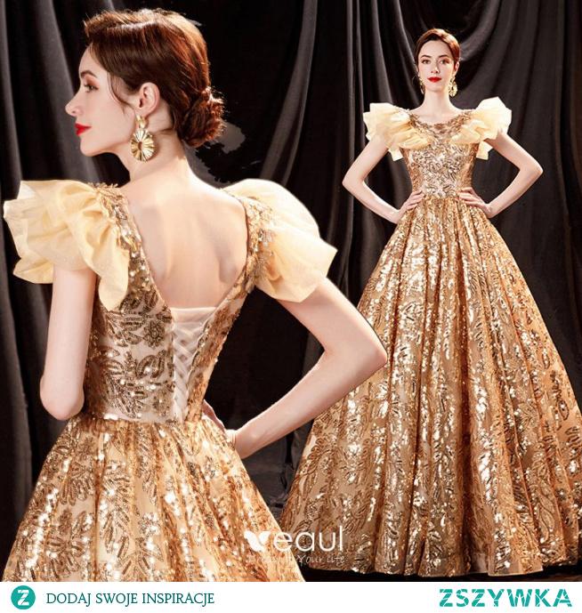 Błyszczące Uroczy Złote Cekiny Sukienki Na Bal 2021 Princessa V-Szyja Frezowanie Rhinestone Kótkie Rękawy Bez Pleców Długie Sukienki Wizytowe