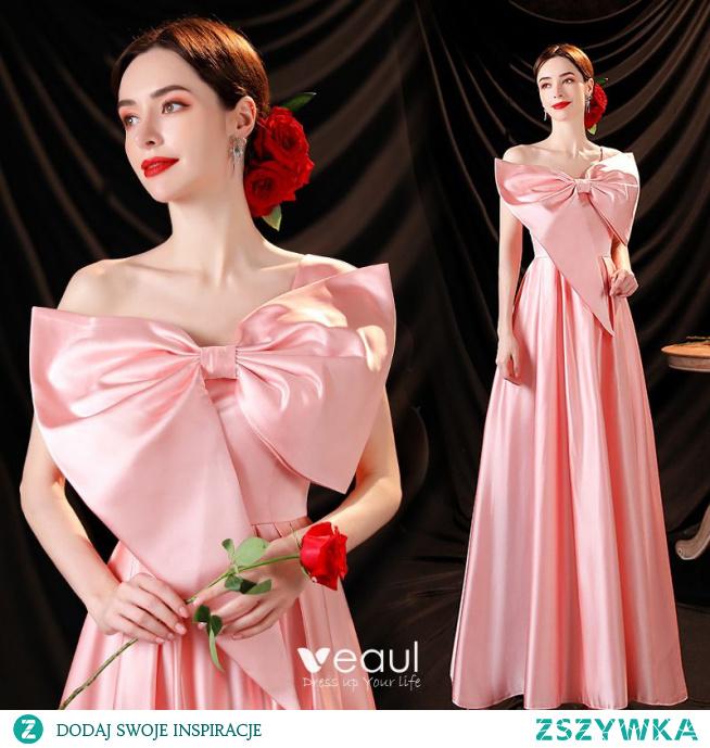 Śliczny Cukierki Różowy Satyna Sukienki Na Bal 2021 Princessa Jedno Ramię Kokarda Bez Rękawów Bez Pleców Długie Sukienki Wizytowe