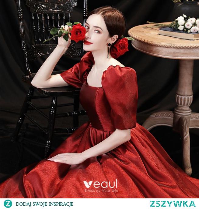 Eleganckie Burgund Satyna Sukienki Na Bal 2021 Princessa Kwadratowy Dekolt Bufiasta Kótkie Rękawy Bez Pleców Długie Sukienki Na Bal