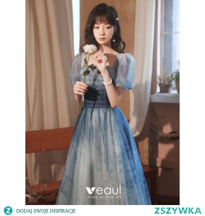 Piękne Ciemnoniebieski Gradient-Kolorów Sukienki Na Bal 2021 Princessa Kwadratowy Dekolt Kótkie Rękawy Bez Pleców Długie Sukienki Wizytowe