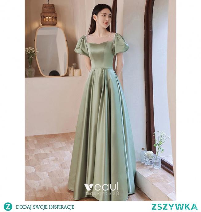 Eleganckie Szałwia Zielony Satyna Sukienki Na Bal 2021 Princessa Wycięciem Bufiasta Kótkie Rękawy Długie Sukienki Wizytowe