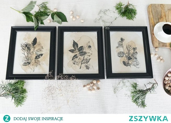 Obrazy malowane herbatą i czarną farbą. W linku film z instrukcją krok po kroku