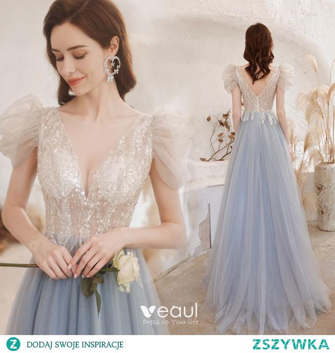 Uroczy Błękitne Sukienki Na Bal 2021 Princessa Wycięciem Frezowanie Cekiny Bufiasta Kótkie Rękawy Bez Pleców Długie Sukienki Wizytowe