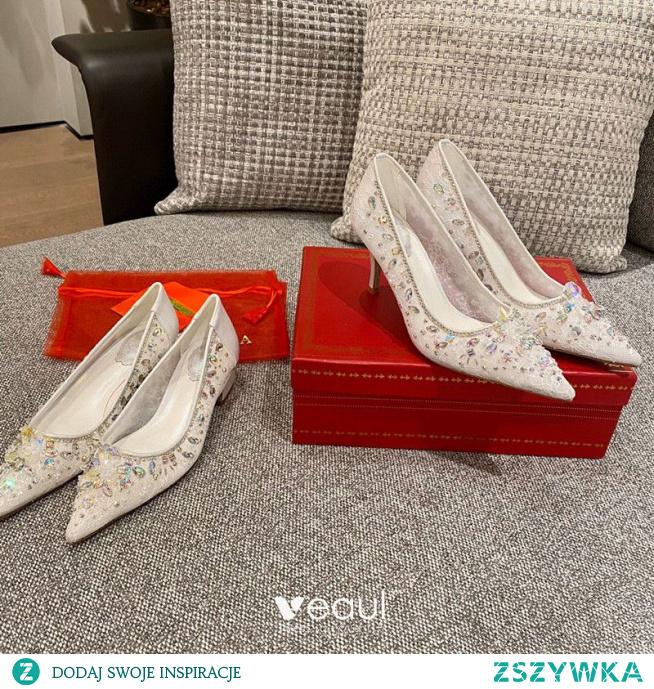 Uroczy Białe Rhinestone Skórzany Buty Ślubne 2021 Z Koronki 7 cm Szpilki Szpiczaste Ślub Czółenka Wysokie Obcasy