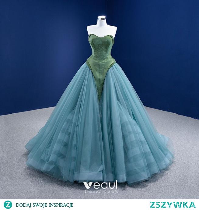 Piękne Ciemnozielony Niebieskie Suknia Balowa Sukienki Na Bal 2021 Bez Ramiączek Bez Rękawów Bez Pleców Trenem Sweep Sukienki Wizytowe