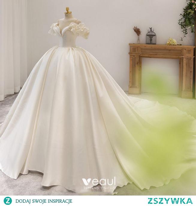 Wysokiej Klasy Kość Słoniowa Satyna Suknie Ślubne 2021 Suknia Balowa Przy Ramieniu Bufiasta Kótkie Rękawy Trenem Królewski Ślub