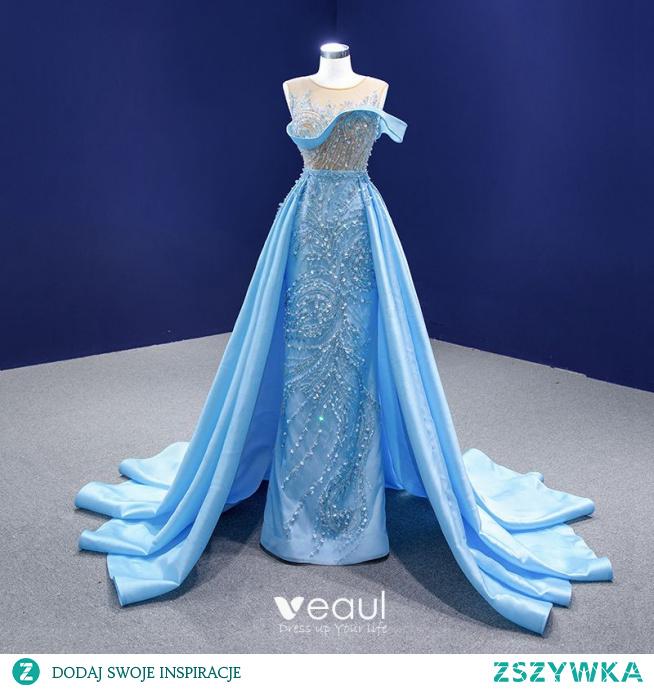 Wysokiej Klasy Niebieskie Frezowanie Perła Cekiny Sukienki Na Bal 2021 Syrena / Rozkloszowane Wycięciem Bez Rękawów Bez Pleców Trenem Kaplica Sukienki Wizytowe