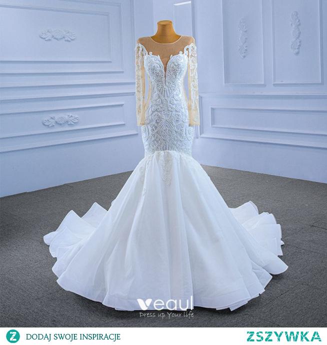 Wysokiej Klasy Białe Frezowanie Cekiny Suknie Ślubne 2021 Syrena / Rozkloszowane Wycięciem Długie Rękawy Trenem Katedra Ślub