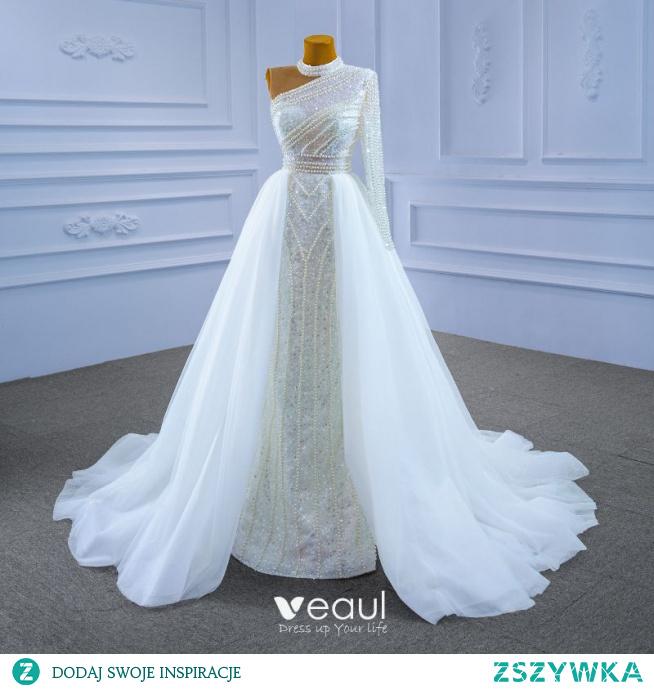 Wysokiej Klasy Błyszczące Białe Suknie Ślubne 2021 Syrena / Rozkloszowane Frezowanie Wysokiej Szyi Perła Cekiny Długie Rękawy Bez Pleców Trenem Sąd Ślub