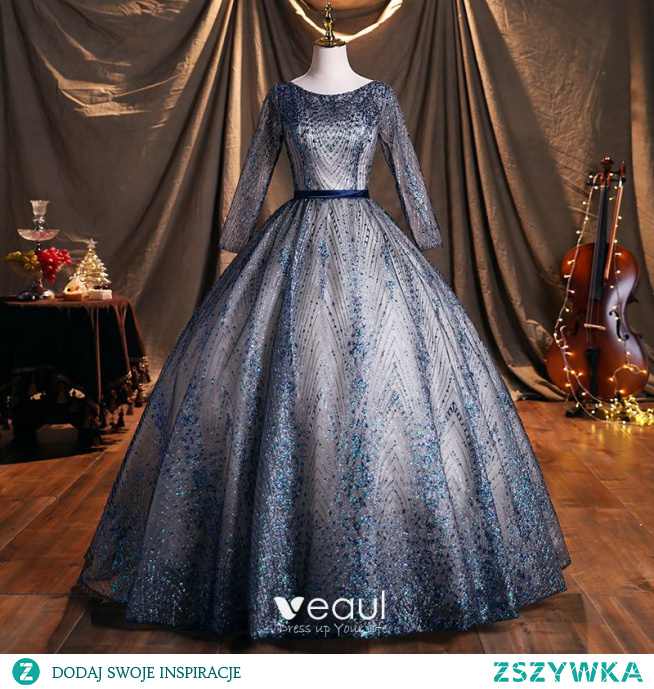 Błyszczące Ciemnoniebieski Cekinami Cekiny Sukienki Na Bal 2021 Suknia Balowa Wycięciem Szarfa Długie Rękawy Bez Pleców Długie Sukienki Wizytowe