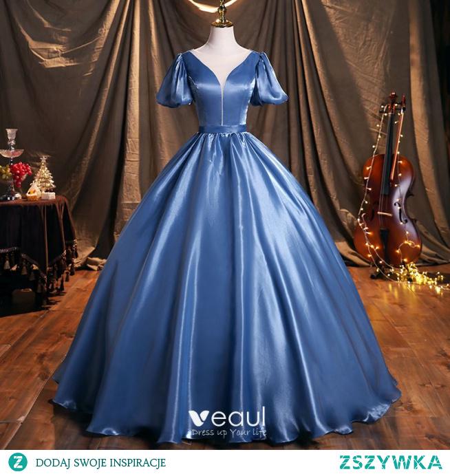 Piękne Ciemnoniebieski Satyna Sukienki Na Bal 2021 Wycięciem Bufiasta Kótkie Rękawy Bez Pleców Długie Sukienki Wizytowe