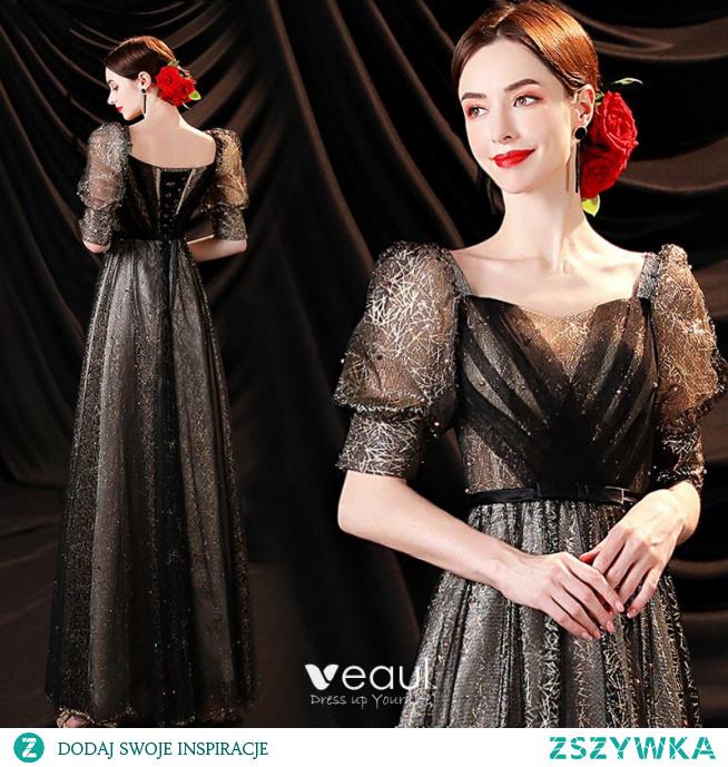Uroczy Cekinami Czarne Złote Sukienki Na Bal 2021 Princessa Kwadratowy Dekolt Perła Kótkie Rękawy Bez Pleców Długie Sukienki Wizytowe
