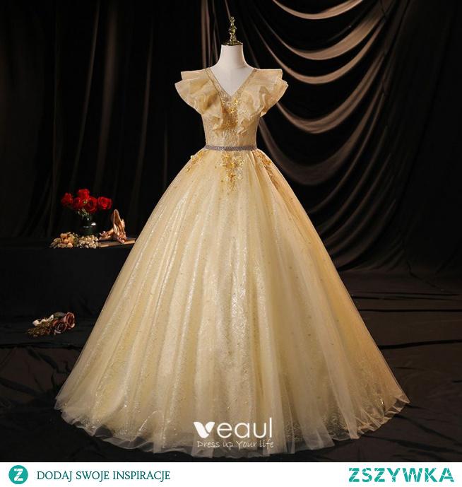 Uroczy Szampan Sukienki Na Bal 2021 Suknia Balowa V-Szyja Aplikacje Perła Cekiny Z Koronki Kwiat Bez Rękawów Bez Pleców Długie Sukienki Wizytowe