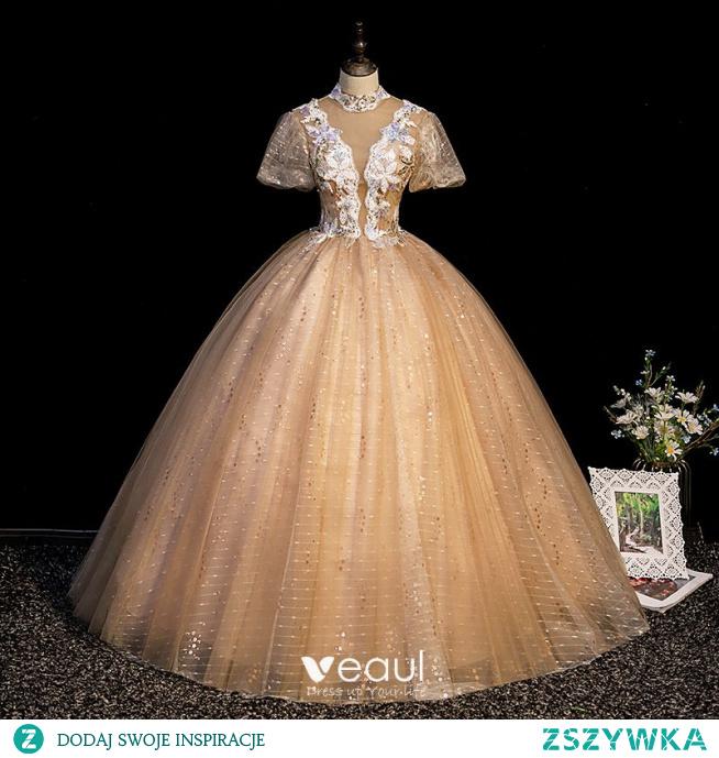 Uroczy Szampan Sukienki Na Bal 2021 Suknia Balowa Wysokiej Szyi Cekiny Z Koronki Kwiat Kótkie Rękawy Bez Pleców Długie Sukienki Wizytowe