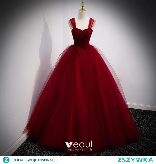 Piękne Burgund Sukienki Na Bal 2021 Suknia Balowa Kwadratowy Dekolt Bez Rękawów Bez Pleców Długie Sukienki Wizytowe