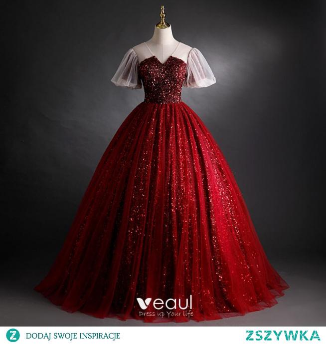 Błyszczące Burgund Cekiny Sukienki Na Bal 2021 Suknia Balowa V-Szyja Frezowanie Kótkie Rękawy Bez Pleców Długie Sukienki Wizytowe