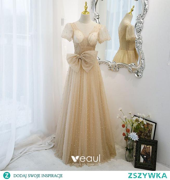 Eleganckie Szampan Sukienki Na Bal Princessa 2021 V-Szyja Kokarda Cekiny Perła Kótkie Rękawy Bez Pleców Długie Sukienki Wizytowe