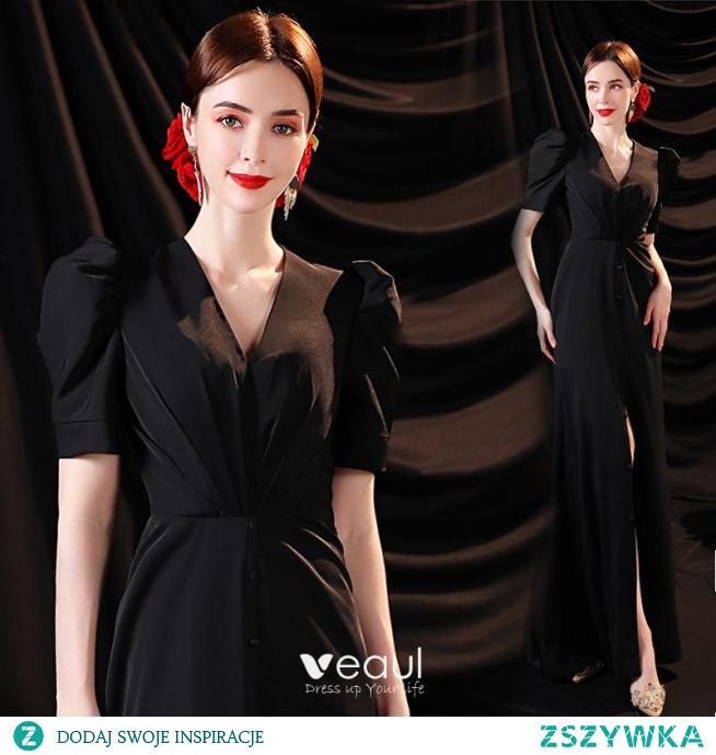 Seksowne Czarne Podział Przodu Sukienki Wieczorowe 2021 Syrena / Rozkloszowane V-Szyja Satyna Kótkie Rękawy Wieczorowe Długie Sukienki Wizytowe