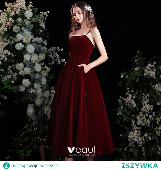 Piękne Burgund Homecoming Zamszowe Sukienki Na Studniówke Princessa 2021 Spaghetti Pasy Bez Rękawów Bez Pleców Perła Długość Herbaty Sukienki Wizytowe