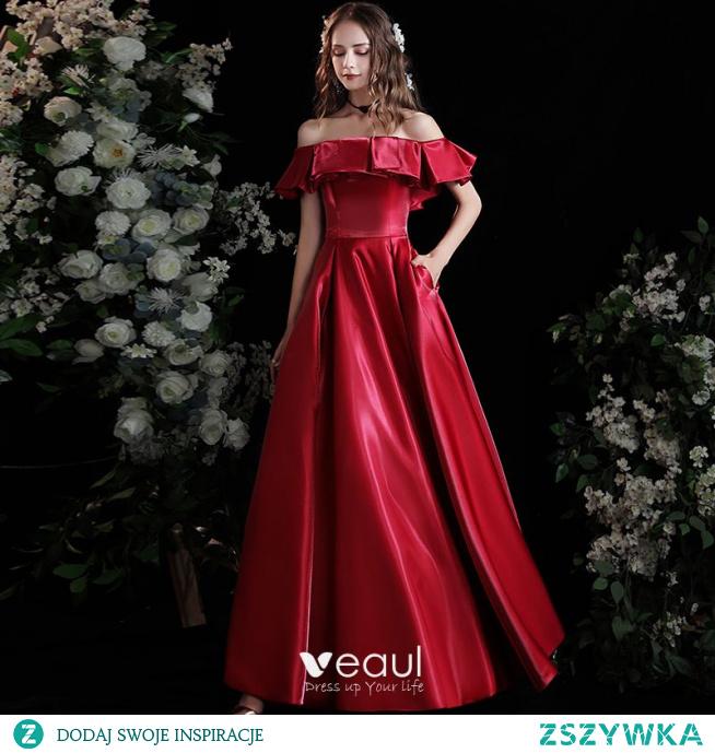 Proste / Simple Burgund Satyna Sukienki Na Bal 2021 Princessa Przy Ramieniu Kótkie Rękawy Bez Pleców Długie Sukienki Wizytowe