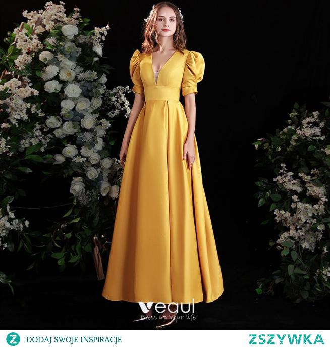 Vintage Żółta Satyna Sukienki Na Bal 2021 Princessa V-Szyja Bufiasta Kótkie Rękawy Bez Pleców Długie Sukienki Wizytowe