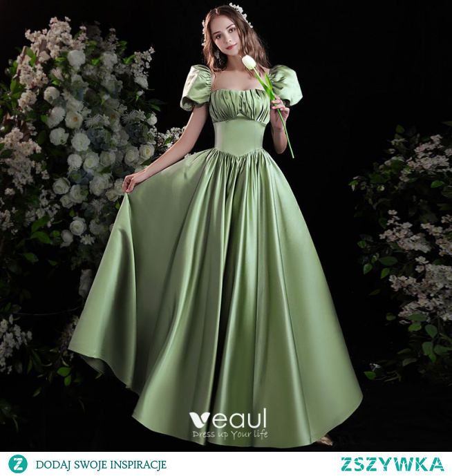 Eleganckie Szałwia Zielony Satyna Sukienki Na Bal 2021 Princessa Kwadratowy Dekolt Bufiasta Kótkie Rękawy Bez Pleców Kokarda Długie Sukienki Wizytowe