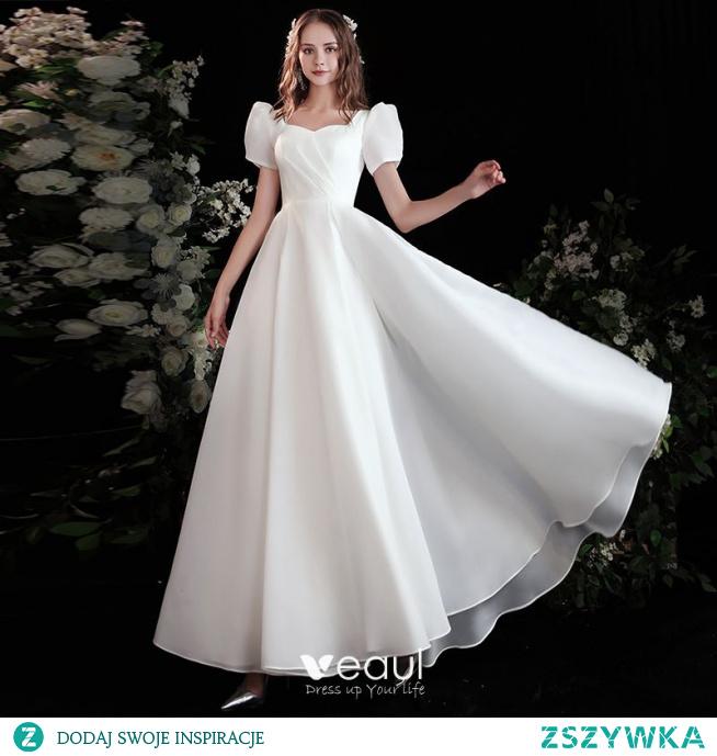 Piękne Kość Słoniowa Satyna Sukienki Na Bal 2021 Princessa Kwadratowy Dekolt Kótkie Rękawy Bez Pleców Długie Bal Sukienki Wizytowe