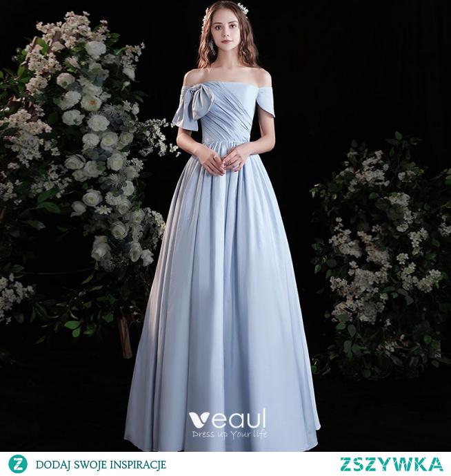 Piękne Błękitne Satyna Sukienki Na Bal 2021 Princessa Przy Ramieniu Kótkie Rękawy Bez Pleców Długie Bal Sukienki Wizytowe
