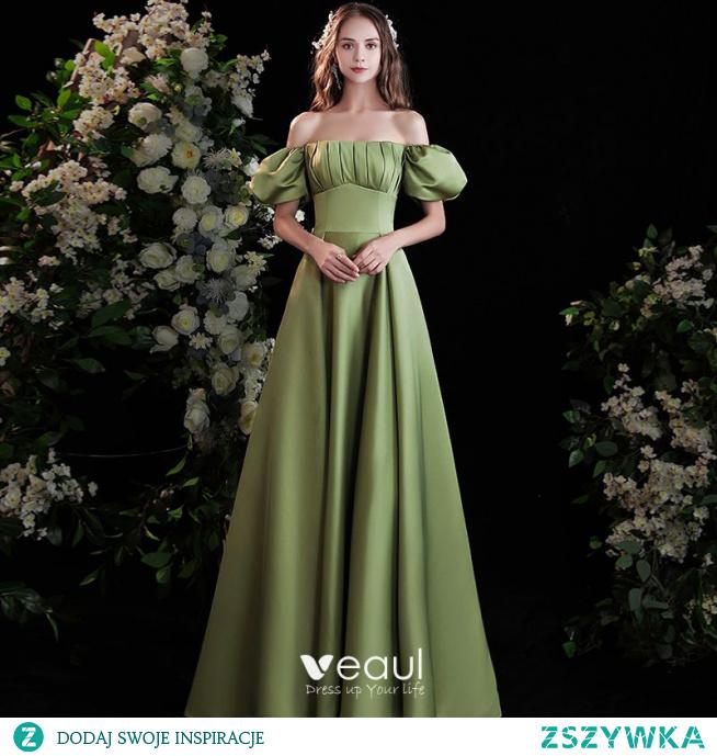 Piękne Szałwia Zielony Satyna Sukienki Na Bal 2021 Princessa Przy Ramieniu Bufiasta Kótkie Rękawy Bez Pleców Długie Sukienki Wizytowe