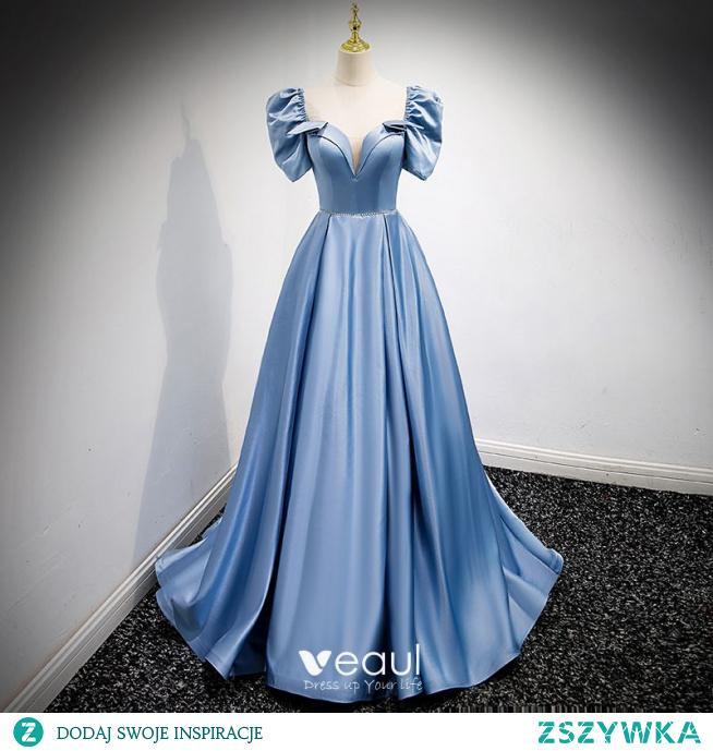 Moda Błękitne Satyna Sukienki Na Bal 2021 Princessa Kwadratowy Dekolt Bufiasta Kótkie Rękawy Bez Pleców Frezowanie Perła Kokarda Rhinestone Szarfa Długie Bal Sukienki Wizytowe