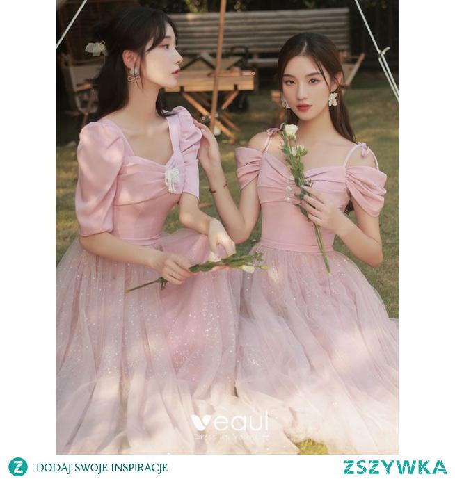 Piękne Cukierki Różowy Perła Sukienki Dla Druhen 2021 Princessa Kótkie Rękawy Bez Pleców Cekiny Długie Sukienki Na Wesele