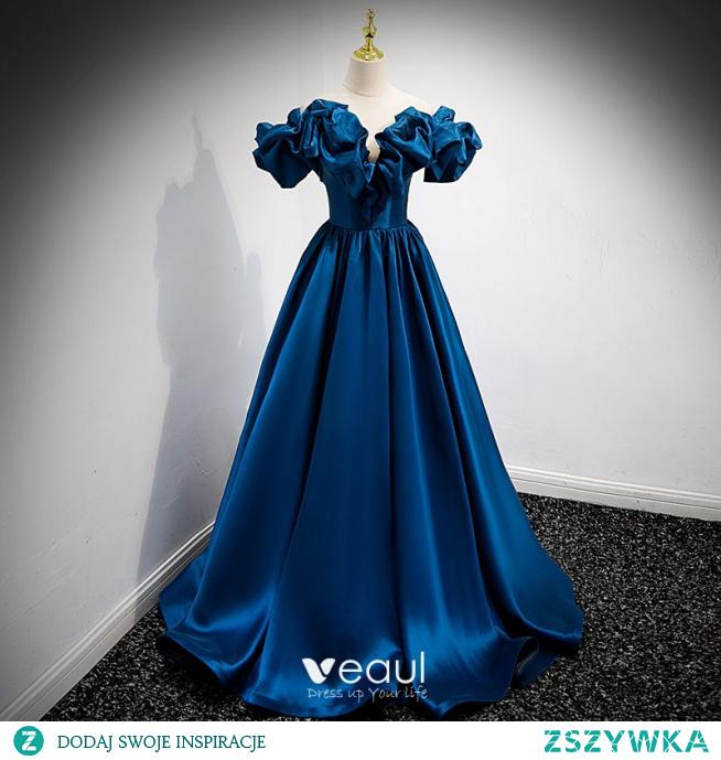 Moda Królewski Niebieski Satyna Sukienki Na Bal 2021 Princessa Wzburzyć Przy Ramieniu Bez Rękawów Bez Pleców Długie Bal Sukienki Wizytowe
