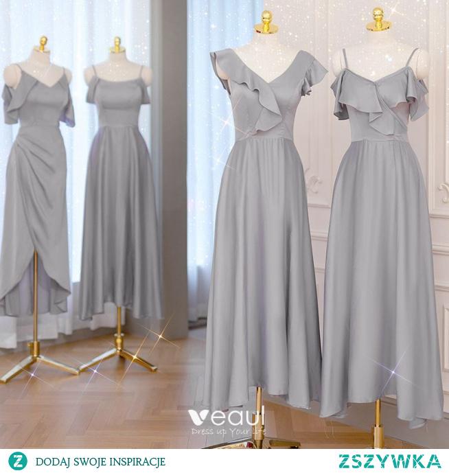 Proste / Simple Szary Satyna Sukienki Dla Druhen 2021 Princessa Spaghetti Pasy Kótkie Rękawy Bez Pleców Długość Herbaty Sukienki Na Wesele
