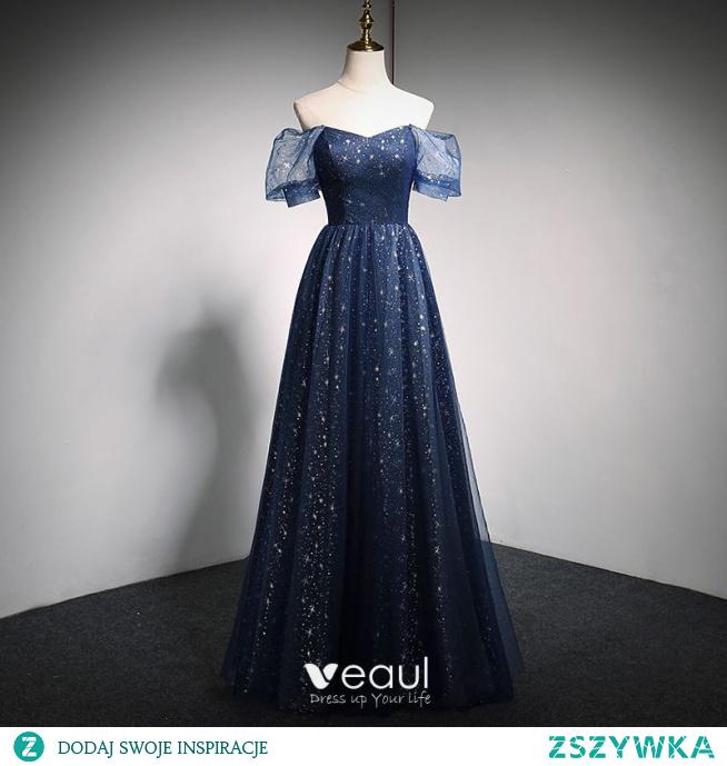 Uroczy Granatowe Gwiazda Cekiny Sukienki Na Bal 2021 Princessa V-Szyja Kótkie Rękawy Bez Pleców Długie Sukienki Wizytowe