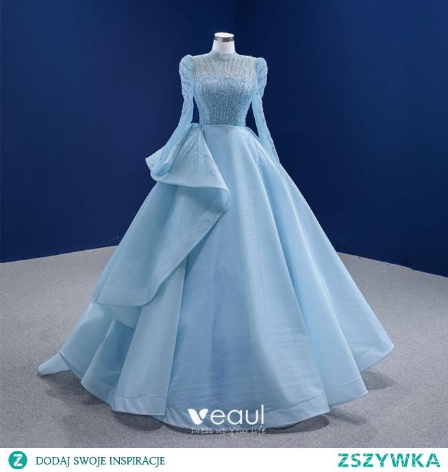 Wysokiej Klasy Niebieskie Frezowanie Cekiny Sukienki Na Bal 2021 Princessa Wysokiej Szyi Długie Rękawy Trenem Sweep Sukienki Wizytowe