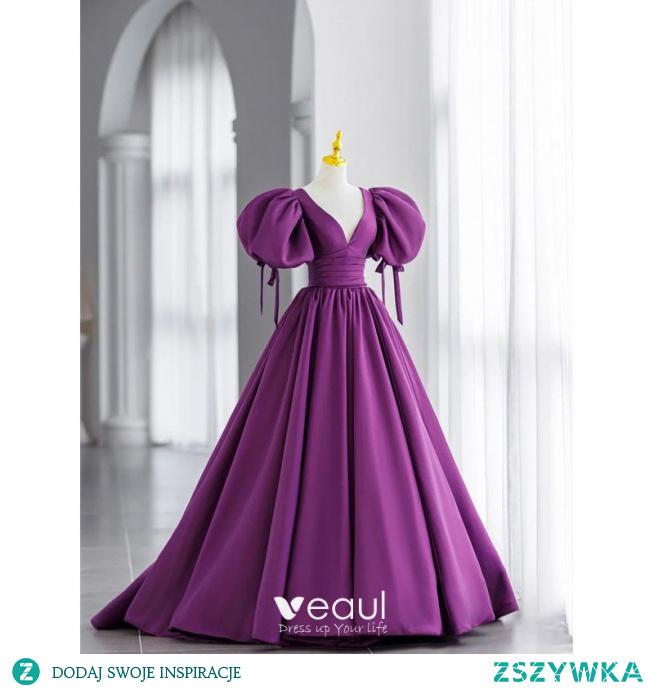 Vintage Winogrono Satyna Sukienki Na Bal 2021 Princessa V-Szyja Bufiasta Kótkie Rękawy Bez Pleców Kokarda Trenem Sweep Sukienki Wizytowe