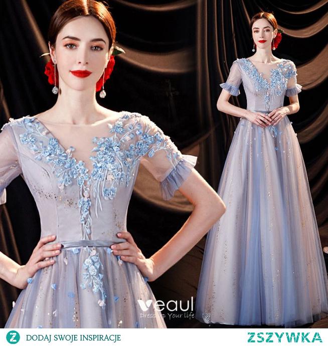 Uroczy Błękitne Aplikacje Sukienki Na Bal 2021 Princessa Wycięciem Frezowanie Cekiny Z Koronki Kwiat Rękawy z dzwoneczkami Bez Pleców Długie Sukienki Wizytowe