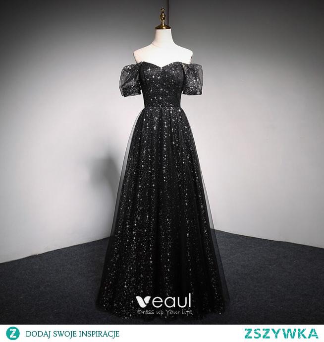 Uroczy Czarne Gwiazda Cekiny Sukienki Na Bal 2021 Princessa Kwadratowy Dekolt Bufiasta Kótkie Rękawy Bez Pleców Długie Bal Sukienki Wizytowe