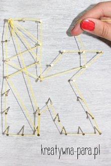Literki z gwoździ i sznurków
