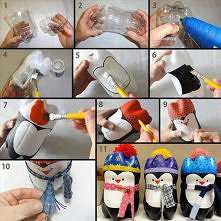 zimowe butelkowe pingwinki:)