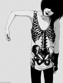 Dziewczyna, bluzka,szkielet.