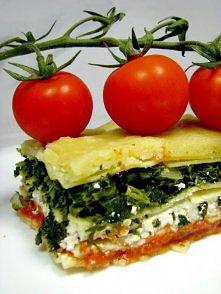 lazania ze szpinakiem,fetą i pomidorami