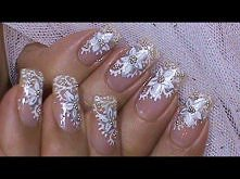 White Wedding Bride Nail Ar...