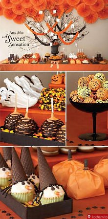 Amy Atlas Traditional Orange and black Halloween party table