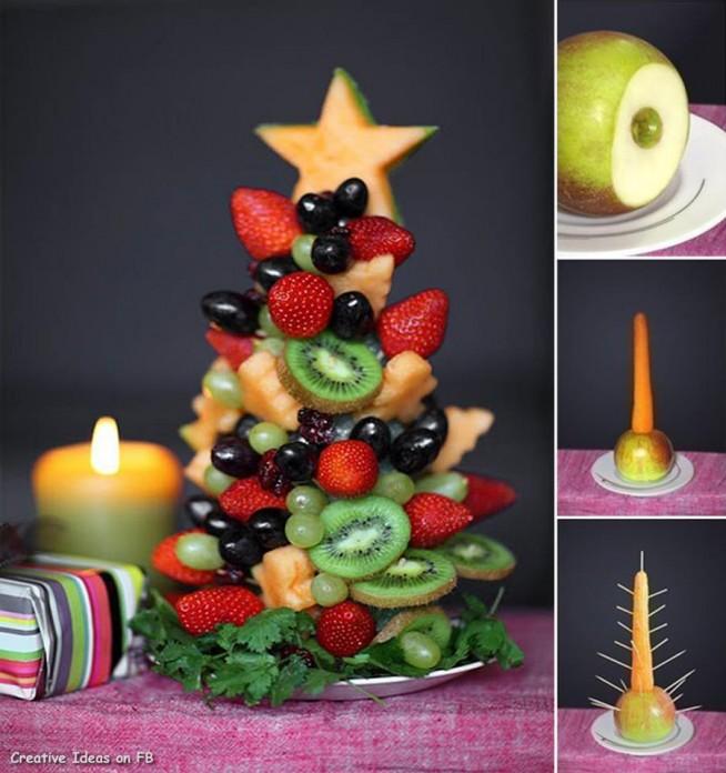 Choinka z owoców.