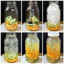 Potrzebne:  ♥ Słoik z zakrętką ♥ Limonka ♥ Pomarańcza ♥ Cytryna ♥ Dużo kotek lodu