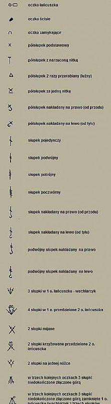 schemat szydełkowych splotów